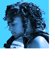 Ayanna Wright, one of the 11 Fannie Lou Hamer High School students who stepped onto a sailboat for the first time in her life four weeks ago answering the question, what would she like to do during her last two weeks of camp. She has clearly fallen in love with sailing--and capsizing! Ayanna is one of three campers who intend to enroll in the afterschool Sailing Program this fall.
